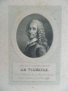 Antik Gravur XIX Porträt Voltaire Bonvoisin Ménard & Desenne Circa 1820