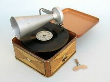 "Rare miniature portable gramophone ""Pigmyphone""  - bakelite disques - Child toy"