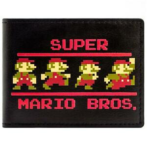 NEW-OFFICIAL-SUPER-MARIO-BROS-8-BIT-RETRO-POSES-BLACK-ID-amp-CARD-BI-FOLD-WALLET