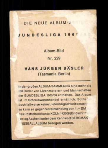 Hans Jürgen Bäsler Tasmania Berlin Bergmann Sammelbild  1965-66 Nr.229