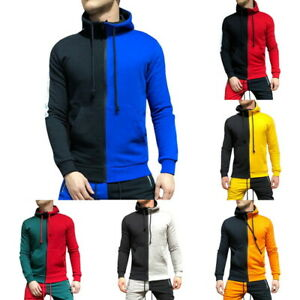Men-039-s-Fashion-Contrast-Color-Hoodie-Pullover-Sports-Tracksuit-Sweatshirts-GIFT