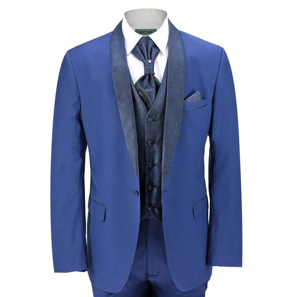 Men's 5 Piece Blau Slim Fit Tuxedo Suit Paisley Print Shawl Lapel Wedding Party