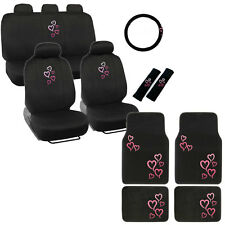 New Pink Hearts Car Front Back Seat Covers Floor Mats & Steering Wheel Cover Set