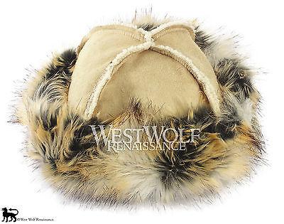 Faux Fur Norse//helmet//cap//medieval//cosplay Winter Fox Fur-Trimmed Viking Hat
