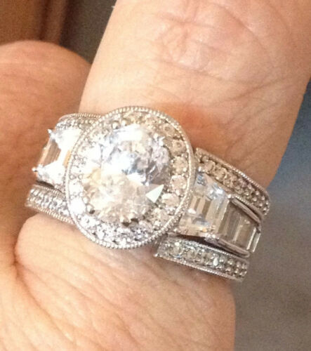 SIZE 7 BREATHTAKING 3.95 CT CZ OVAL /& PAVE RING /& GUARD IN 925 STERLING