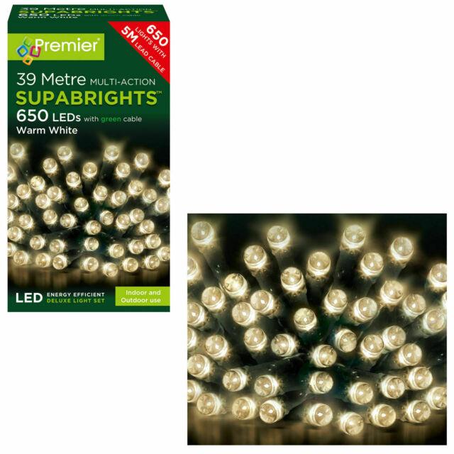 80 LED Multi Action Supabright Lights Warm White 8 Metres Lit Length