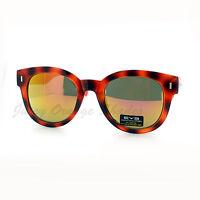 Womens Fashion Sunglasses Round Horn Rim Color Tortoise Mirror Lens