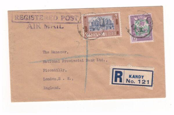 Ceylon 1953 1 Roupie 15 Cents 2 Timbres Inscrit Kandy Air Mail Enveloppe Uk Ventes Bon Marché