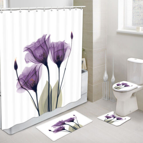 4PCS Flowers Shower Curtains Sets with Rugs Purple Tulip Toilet Cover Rugs Mat