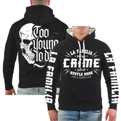 Capuche La Familia crime Hoodie mal Old School Blood Crew Tatouage Ink