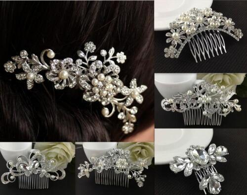 Women/'s Crystal Rhinestone Flower Pearls Hair Clip Hair Comb Bridal Hair Jewelry