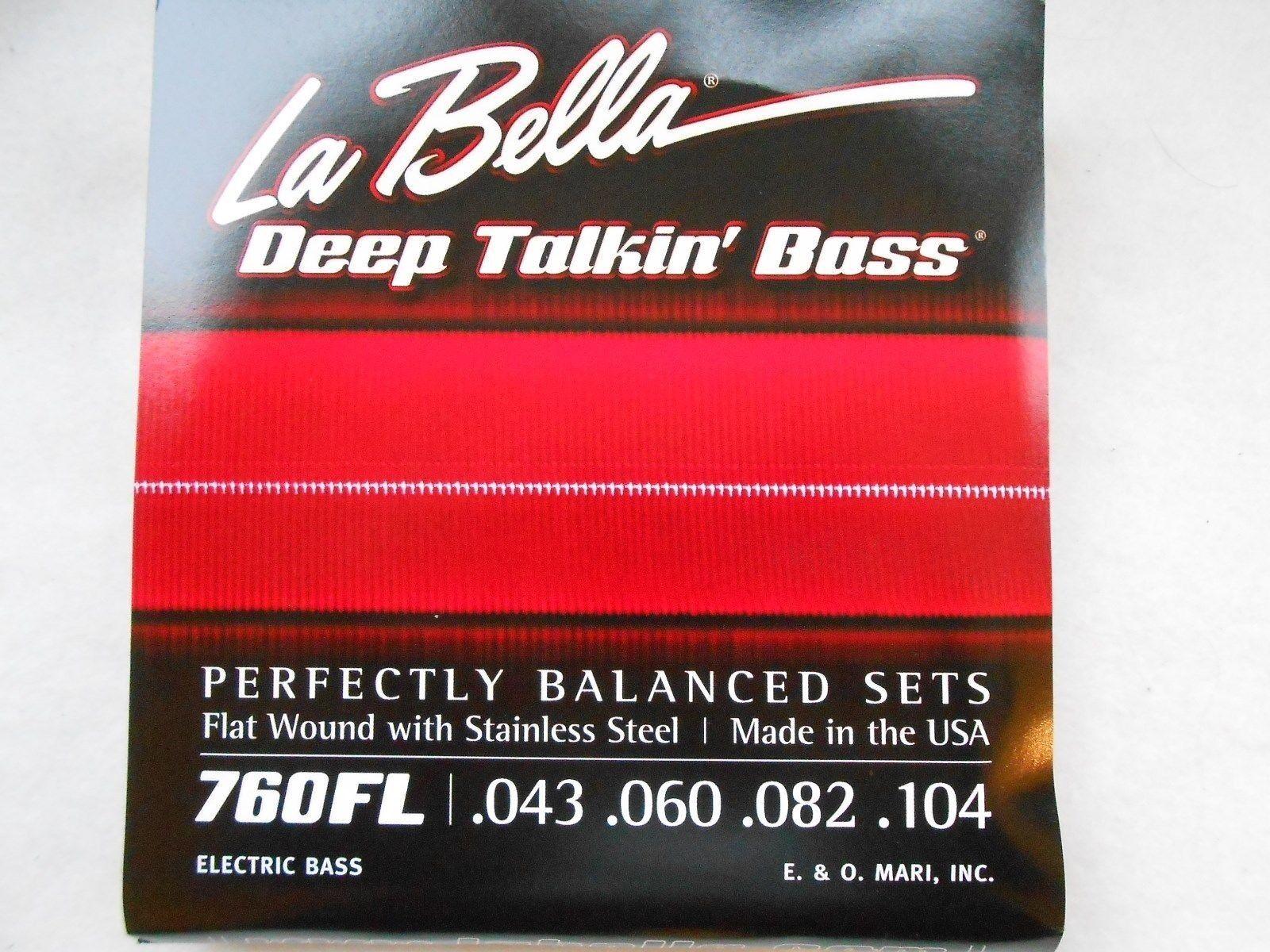 La Bella 760FL Deep Talkin Bass Guitar Strings - Light 43 - 104  Flat Wound