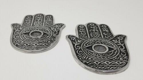 2 pieces Hamsa Hands Metal Burner Sage Smudge Cone Burner 4.25 inches