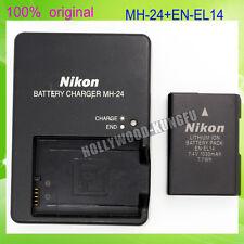 Genuine Original NIKON EN-EL14 Battery + MH-24 Charger For D5100 P7000 D3100