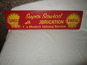 "SHELL Gasoline ""Seashell"" Vintage 23"" Embossed Tin Metal Sign"