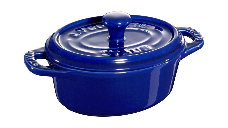 Staub Cerámica Juego de 6 Mini Cocotte Ovalado Azul Oscuro 11cm Fuente para