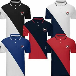 Mens-Polo-T-Shirt-Designer-Short-Sleeve-Pique-Tipping-Striped-Shirt-Big-Horse