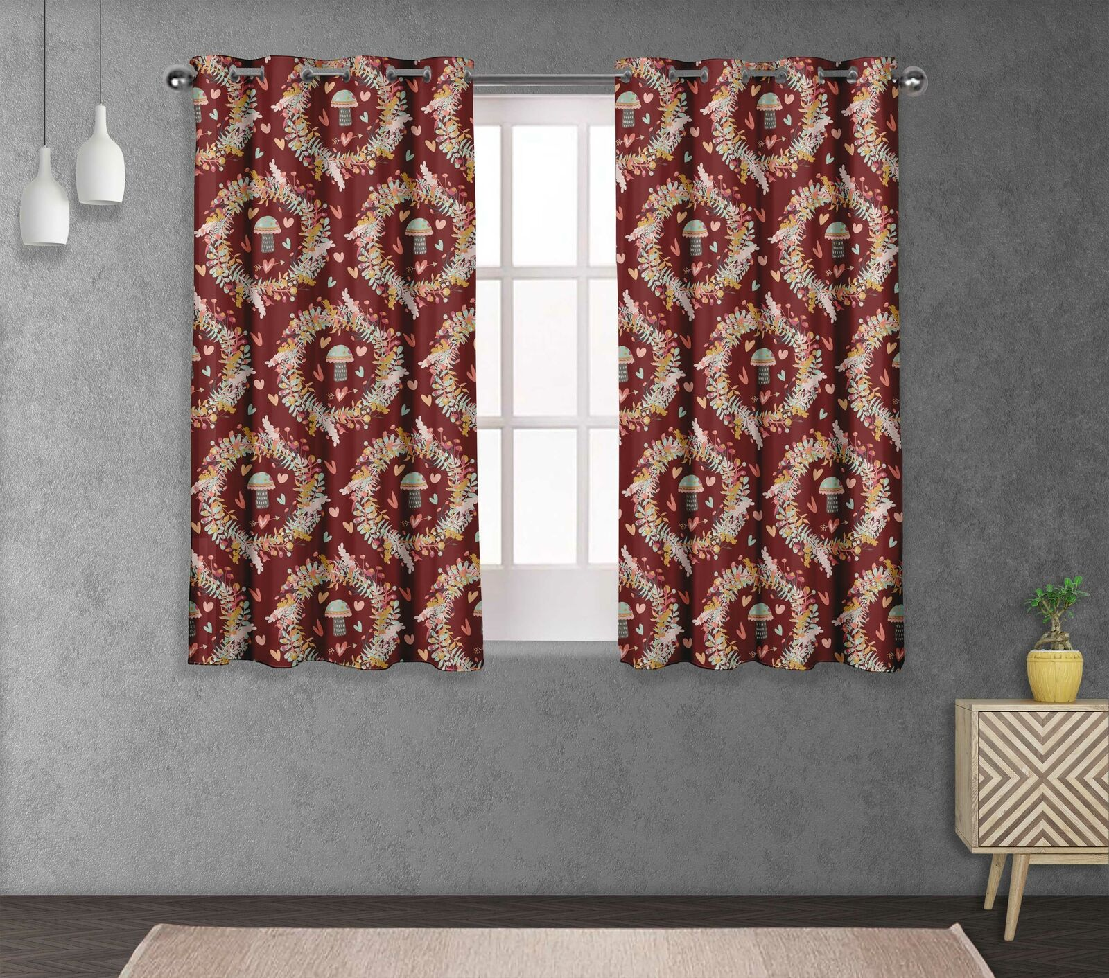 S4sassy Mushroom & Wreath Living Room Eyelet Curtain Drapers -FL-844D