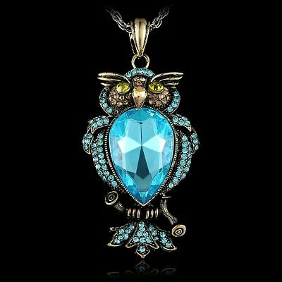 VINTAGE RHINESTONE OWL PENDANT LONG CHAIN NECKLACE FASHION WOMEN JEWELLERY GIFT