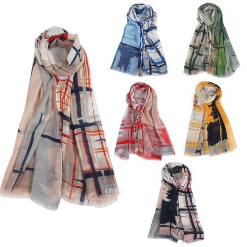 Womens line block multi tone neck wrap up head scarf