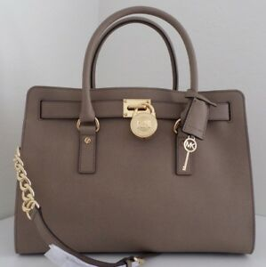 238c0804eea280 Image is loading MICHAEL-KORS-HAMILTON-LARGE-DARK-DUNE-SAFFIANO-LEATHER-