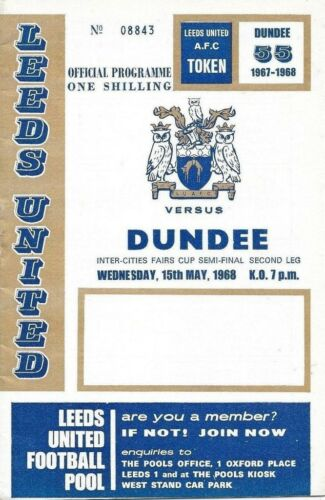 1968 FAIRS CUP SEMIFINAL LEEDS UNITED v DUNDEE