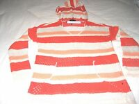 Sanctuary Womens Baja Beach Hoodie Sweater Orange White Cotton S M L Ships Free