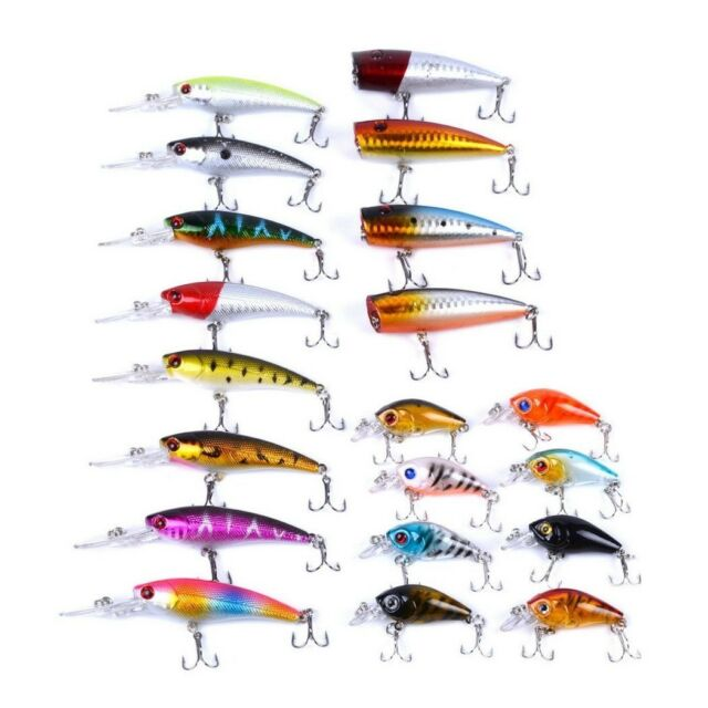 Aorace 20pcs Fishing Lures Kit Mixed Including Minnow Popper Crank Baits With HO for sale online