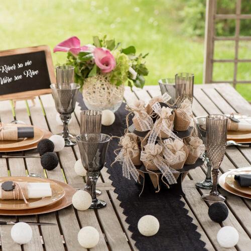 Tischläufer schwarz Spitzen Rund Tischband Dekostoff Hochzeit Banner Tischdeko