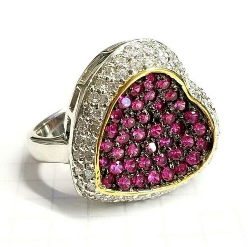 SIZE 6,7,8,9 HOT PINK//FUSCHIA CZs HEART COCKTAIL RING .925 STERLING SILVER