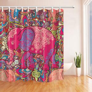 The India Elephant Decor Bathroom Shower Curtain Fabric w ...