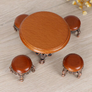1-12-Dollhouse-Miniature-Furniture-Wooden-Round-Kitchen-Side-Table-and-stool-w