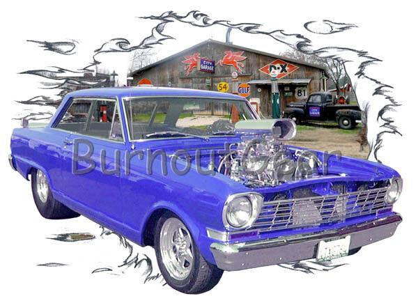 1964 Blau Blown Chevy Nova Custom Hot Rod Garage T-Shirt 64 Muscle Car Tees