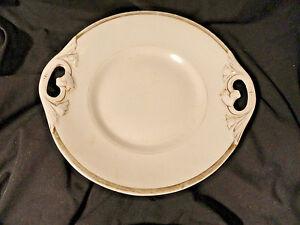 White-amp-Gold-Antique-Porcelain-Cabinet-Plate-2-Handled-Serving-Dish-9-5-8-inch