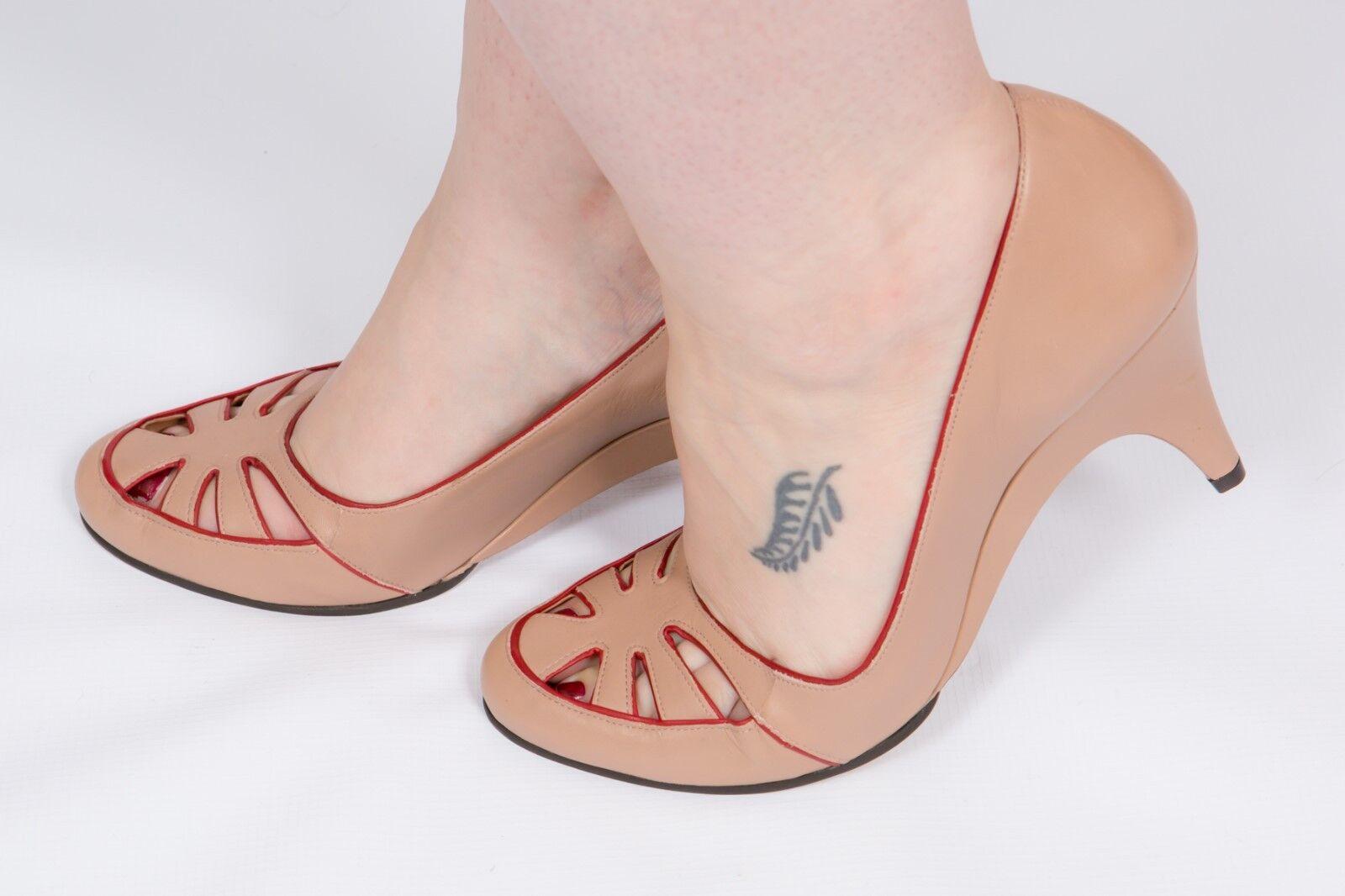 40s vintage style nude and ROT CARVELA heels Größe 8