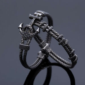Handmade-Mens-Anil-Arjandas-Anchor-Bangle-Braided-Wire-Stainless-Steel-Bracelet