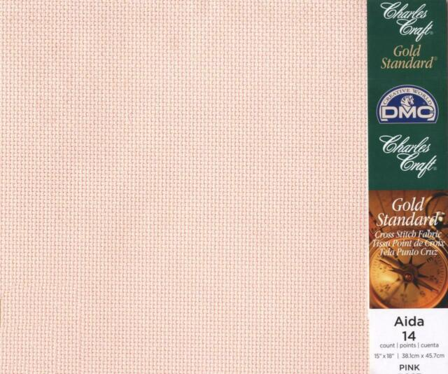 "DMC Charles Craft AIDA Gold Standard 14 Count ALL COLOURS 15/"" x 18/"" Cross Stitch"