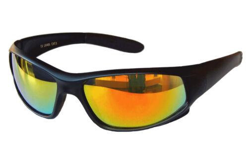 Sportbrille Sonnenbrille Black matt Rot Gold Fire verspiegelt Radbrille Sport M1