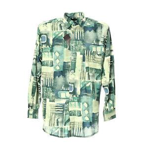 Herren-Langarmhemd-Groesse-XL-Freizeit-Shirt-Hemd-Kentkragen-Gruen-Retro-Muster