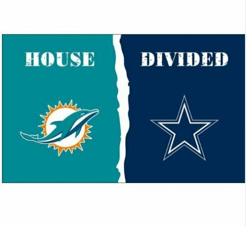Miami Dolphins and Dallas Cowboys Divided Flag 3x5ft