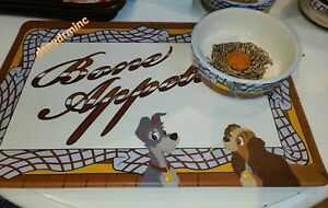 NEW-Disney-Parks-Lady-and-the-Tramp-Pet-Food-Bowl-amp-Feeding-Mat-Set
