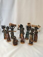 Lot Of Nine Dolls From Zaire Democratic Republic Of The Congo W/ Basket Africa