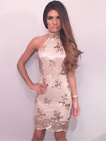 """Tanya"" Gold Embroided Sequin High Neck Backless Bodycon Dress Boutique 8-14"