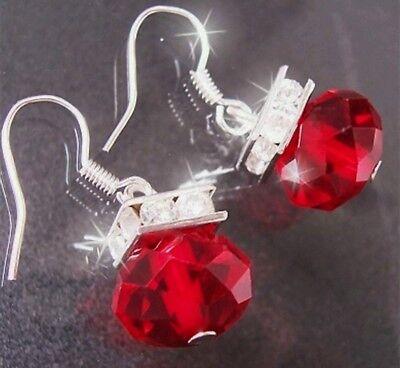 Hängeohrringe color plata brillante aretes rojo piedra de cristal