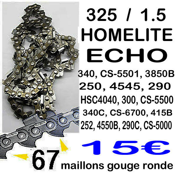 Chaine tronconneuse 67 maillons 325 Homelite  ECHO coupe 40cm