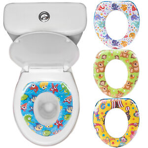 Potty-Training-Padded-Toilet-Seat-Baby-Soft-Padded-With-Handles-Pattern-Design