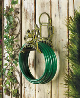 Green Cast Iron Frog Statue Wall Hook Hanging Outdoor Garden Hose Holder Storage