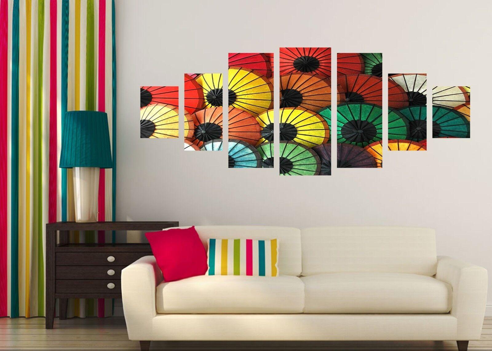 3D Umbrella Couleur 123 Unframed Print Wall Paper Deco Indoor AJ Summer