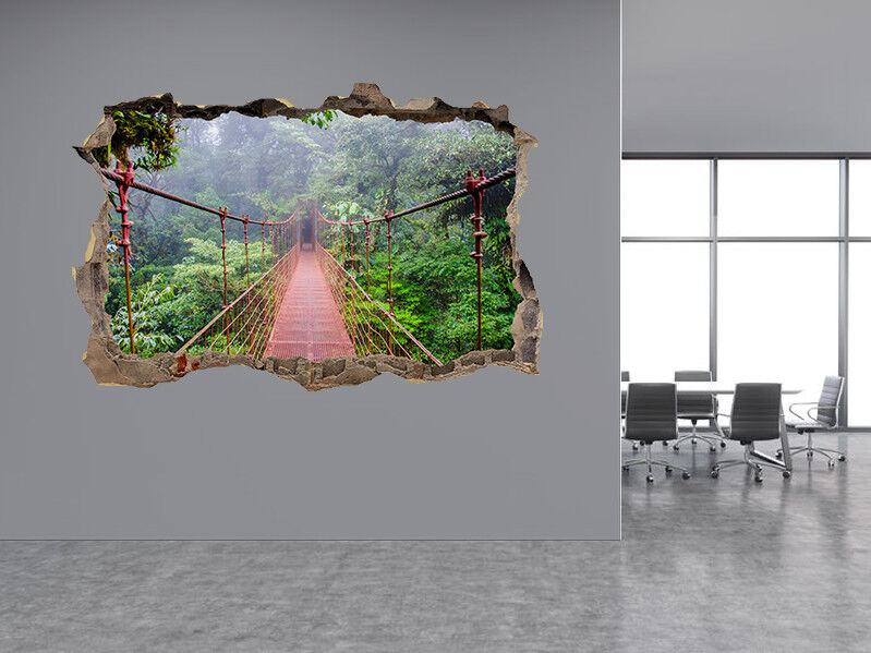 A Ponte in Foresta Pluviale Foto Buco in Adesivo da Parete Murale (52704856)