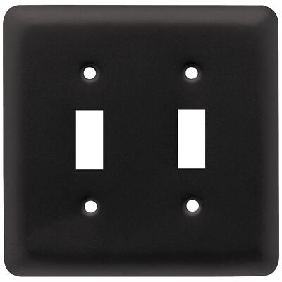 64360 Stamped Flat Black Single Switch Duplex Cover Plate